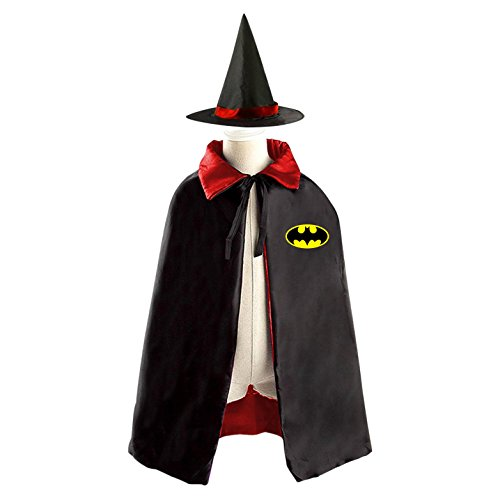 DIY BATMAN logo Costumes Party Dress Up Cape Reversible with Wizard Witch Hat