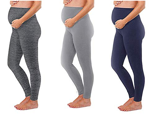 Maternity Leggings Seamless Solid Color Nursing Clothes Tights - 1, 2, and 3 Pack Gift Set - Stretch (3 Pack - Space Grey,Light Grey, Navy, ONE SIZE FITS ALL (MATERNITY))