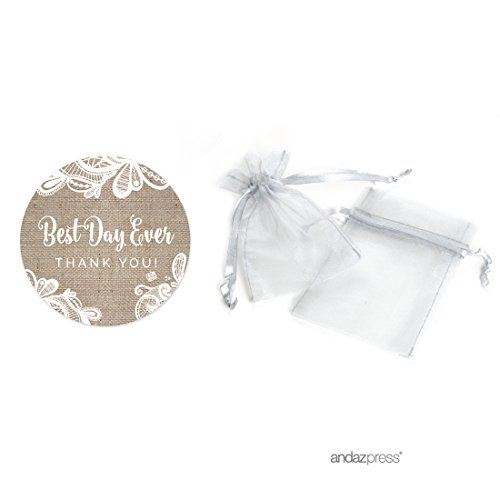 Andaz Press Burlap Lace Wedding Collection, Organza Bag DIY Party Favors Kit, Best Day Ever Thank You, 20-Pack