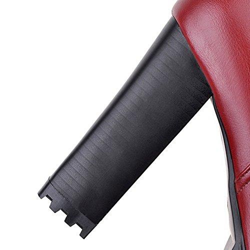 AllhqFashion Mujeres Sólido Tacón ancho Cremalleras Caña Baja Botas con Metal Rojo