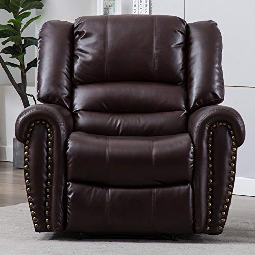 Brown Upholstered Rocker (CANMOV Breathable Bonded Leather Recliner Chair, Classic and Traditional 1 Seat Sofa Manual Recliner Chair with Overstuffed Arms and Back, Brown)