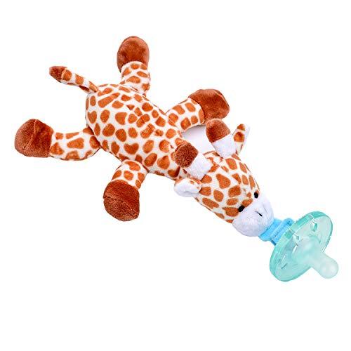 Baby Pacifier Holder Detachable Binky Plush Stuffed Animal Toy BPA Free for Newborn Boy Girl + Soothie Case + Gift Box (Giraffe)