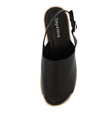 ADIDAH Shoes Wedges DJANGO amp; LEATHER JULIETTE Summer Heels EMBOSSED BLACK Medium Womens SIBpx