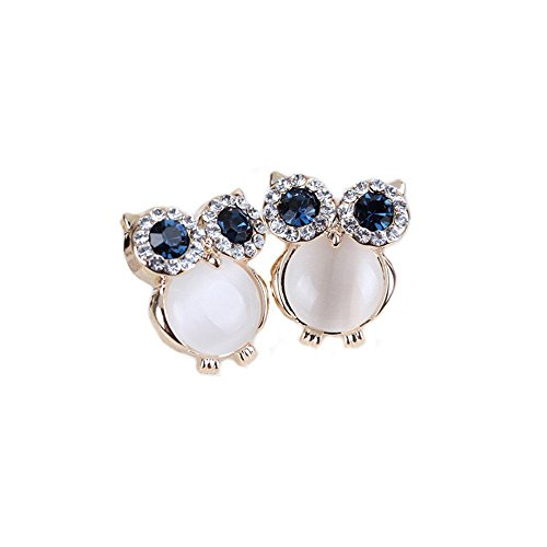Grimbatol Cute Owl Rhinestone Cymophane Crystal Earring 925 Sterling Silver Needle Ear Stud Anti-Allergy ()