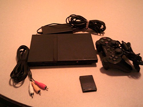 Sony Playstation 2 (PS2) Slim Game Console w/Blue DualShock Controller (Black)