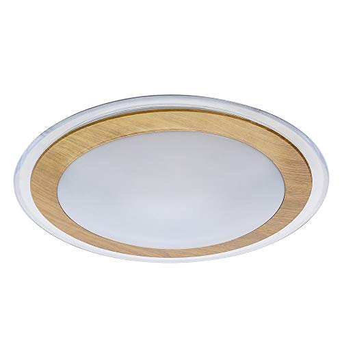 AUDIAN Ceiling Lights Flush Mount Ceiling Lights Oak Effect Ring Chandelier Acrylic Shade 17.3Inch Ceiling Lamp Fixture Dimmable LED Daylight White Bedroom Children Room Lighting 5 Years Warranty