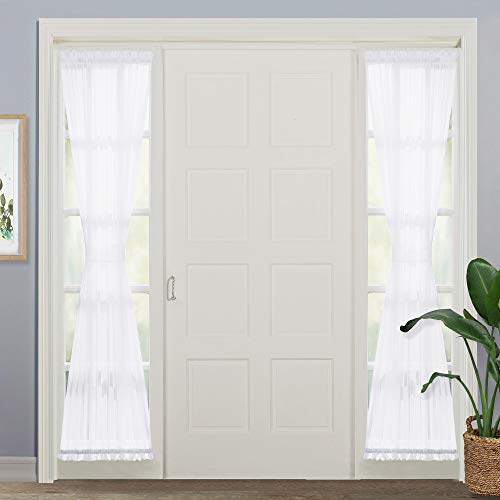 NICETOWN Voile Sidelights Panel Curtains, Sidelight Curtains Blind French Door Sheer Curtains Window Treatment with Bonus Tiebacks, 30