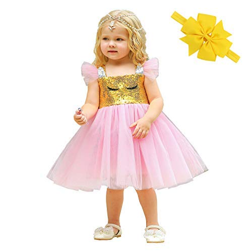 Abc Party Halloween Costumes (Girls Unicorn Princess Costume Dress - Kids Queen Fancy Halloween Party Tutu Tulle Dress Up Cosplay for Baby Toddler Child)