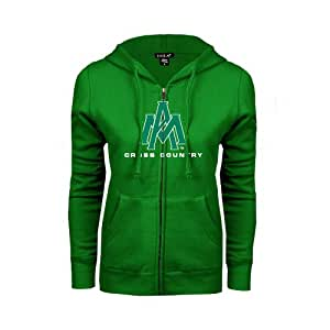 Arkansas Monticello ENZA Ladies Kelly Green Fleece Full Zip Hoodie 'Cross Country' - X-Large
