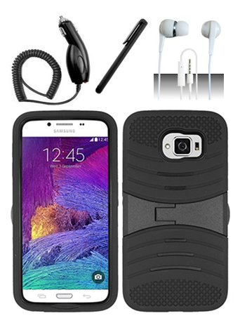 4 Items Combo For Samsung Galaxy S6 Black Hybrid Heavy Duty Armor Rugged Shell Protective UCASE Phone Case Cover with Built in Kickstand and Screen Protector + Car Charger + Free Stylus Pen + Free 3.5mm Stereo Earphone Headsets