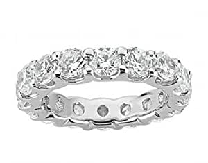 3.00 Ct Round Cut Diamond Eternity Wedding Band. Comfort Fit Ring in 14 kt White Gold in Size 8