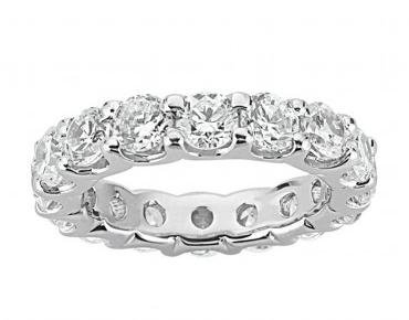 3.00 Ct Round Cut Diamond Eternity Wedding Band. Comfort Fit Ring in 14 kt White Gold in Size 8 by Natural Diamonds of NYC