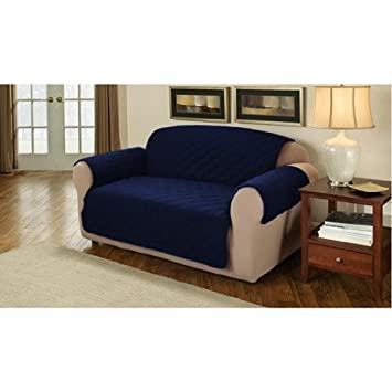 Soft Quilted 3 Seater Sofa Cover Protector Throw, Navy Blue