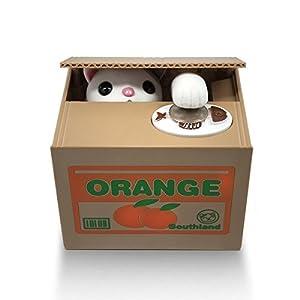 Cat In A Cardboard Box Piggy Bank