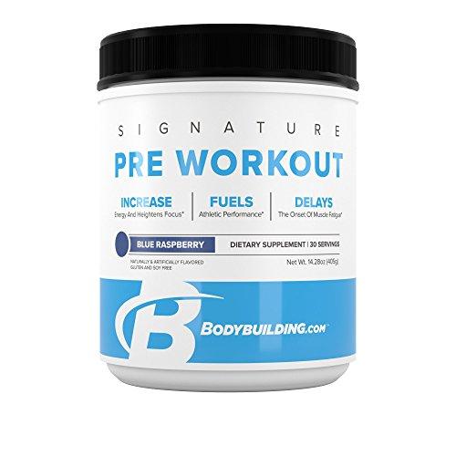 BodyBuilding.Com Signature Pre Workout Powder   CARNOSYN, L-LEUCINE, L-CITRULLINE   Increases Focus, Fuels Performance   Blue Raspberry, 30 Servings