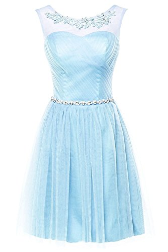 ASBridal Women's Short Chiffon Hater Bridesmaid Dresses Prom Sleeveless Homecoming Gown, Light Blue, US24W ()