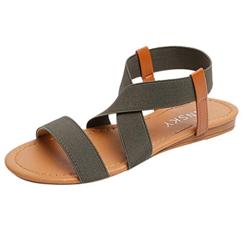 HOSOME Women Beach Sandals Cross Strap Sandals Low Heel Anti Skidding Peep-Toe Shoes ()