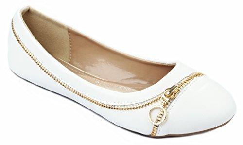 Larisa15 Golden Zipper Decor Fannullone Balletto Scarpe Eleganti Bianco Pu