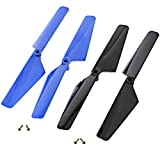 Traxxas LaTrax Alias Quadcopter 2 BLUE & 2 BLACK ROTOR BLADES & SCREWS Prop