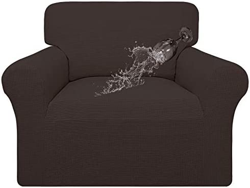 Easy-Going 100% Waterproof Chair Couch Cover,Dual Waterproof Sofa Cover, Stretch Jacquard Sofa Slipcover, Leakproof Furniture Protector for Kids, Pets, Dog and Cat (Chair, Chocolate)