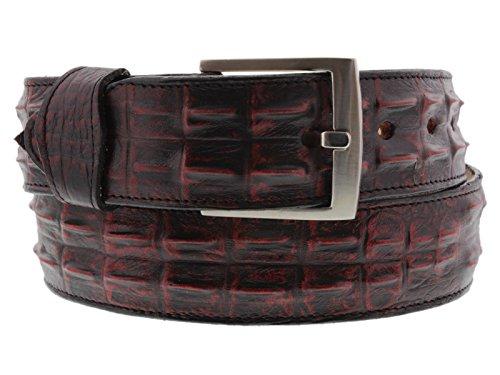 El Presidente - Men's 36 Crocodile Hornback Leather Cowboy Belt Silver Buckle 36