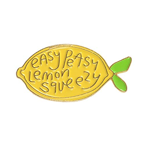 bjduck99 Unisex Cartoon Lemon Letters Enamel Brooch Pin Denim Backpack Decor Party Badge