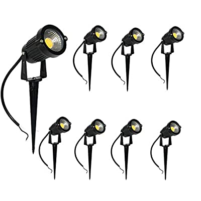 Newbility 5W Upgrade Super Bright LED Garden Outdoor Lighting Landscape Light Spotlight Warm White Waterproof Durable Installation Simple with Spear Frame Low Voltage 12V (8 Pack)
