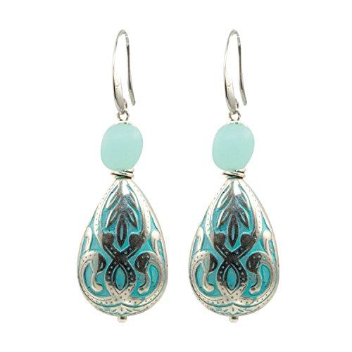Teardrop Accent - Aqua Silver Plated Scroll Teardrop Bead with Sea Glass Bead Accent - Dangle Earrings