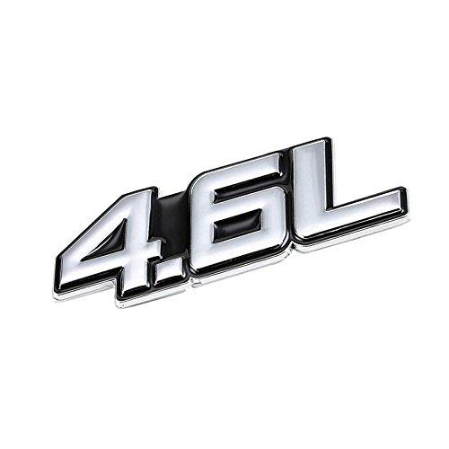 UrMarketOutlet 4.6L Black/Chrome Aluminum Alloy Auto Trunk Door Fender Bumper Badge Decal Emblem Adhesive Tape Sticker