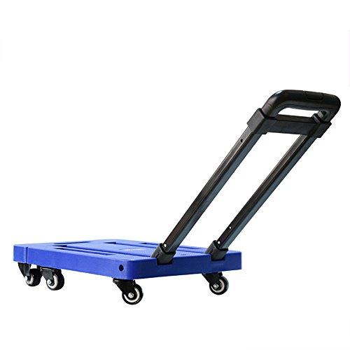 WE&ZHE Hand Trolley Folding Heavy Duty Flat Bed Transport,Can Bear 200Kg,Blue