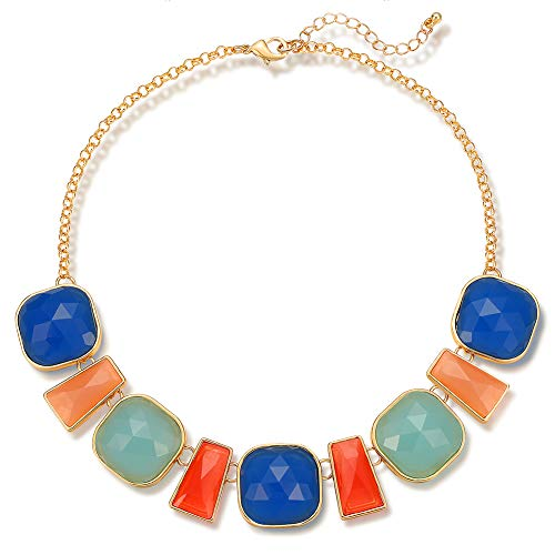 FAMARINE Multicolor Square Resin Pendant Chain Collar Bib Statement Necklace for Girls Women, Red Blue Green Orange