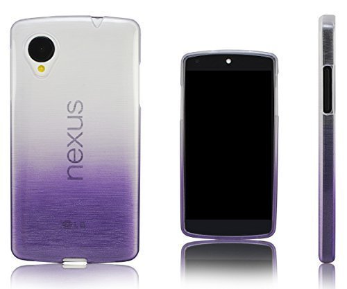 Xcessor Transition Color Flexible TPU Case for LG Nexus 5. With Gradient Silk Thread Texture. Transparent / Purple