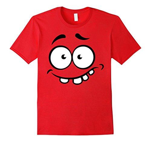 Men's Emoji Halloween Shirt Costume Scared Teeth Out Monster Shirt XL Red (Cute Girl Nerd Costumes Halloween)