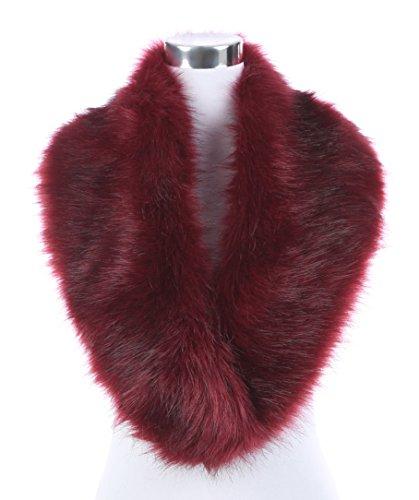 Shawl Neck (Lucky Leaf Women's Winter Fake Faux Fur Stole Scarf Wrap Collar Shawl Shrug for Weeding Evening Party (Burgundy))