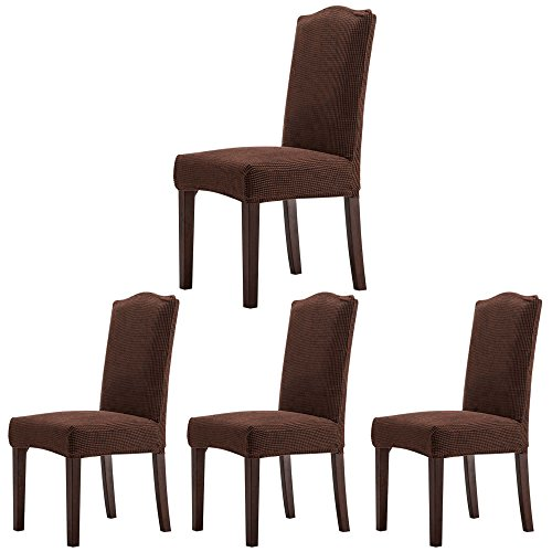 Chair Dining Slipcover Solid Cotton (ColorBird Solid Color Knitted Fleece Dining Chair Slipcovers Removable Universal Stretch Elastic Chair Protector Covers for Dining Room, Hotel, Banquet, Ceremony (Set of 4, Coffee))