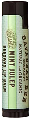 Savannah Bee Company Certified Organic Mint Julep Lip Balm, 0.15-Ounce (Pack of 4)
