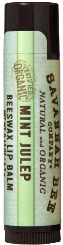 Savannah Bee Company Certified Organic Mint Julep Lip Balm, 0.15-Ounce (Pack of 4) (Kitchen Savannah)