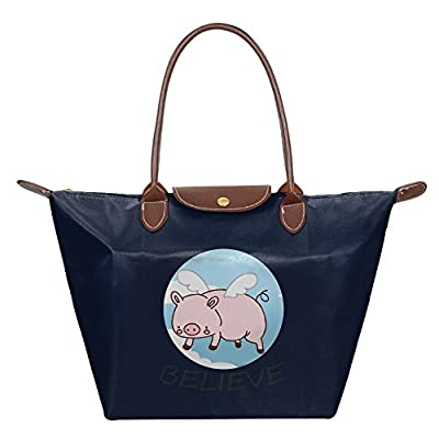 60%OFF Fanboupout Flying Pig Believe Large Tote Bags Multifunction  Waterproof Shoulder Handbags With Zipper 8d83faaa86973