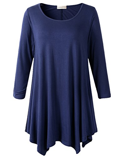LARACE Women Plus Size 3/4 Sleeve Tunic Tops Loose Basic Shirt (1X, Navy Blue) ()