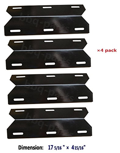 Hongso PPC041 (4-pack) Porcelain Steel Heat Plate, Heat Shield, Heat Tent, Burner Cover Replacement for Charmglow Permasteel, Sams, Members Mark 720-0584A, Perfect Flame and others, NGCHP3 (17 5/16 - Steel Flames Shield