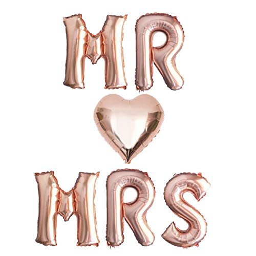 Yalulu 16inch Rose Gold MR & MRS/MRS to Be Letter Wedding Foil Balloon Mylar Balloons for Wedding Bachelorette Hen Party Decoration (MR❤MRS)