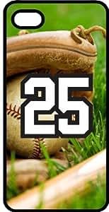 Baseball Sports Fan Player Number 25 Black Plastic Decorative iphone 4s Case