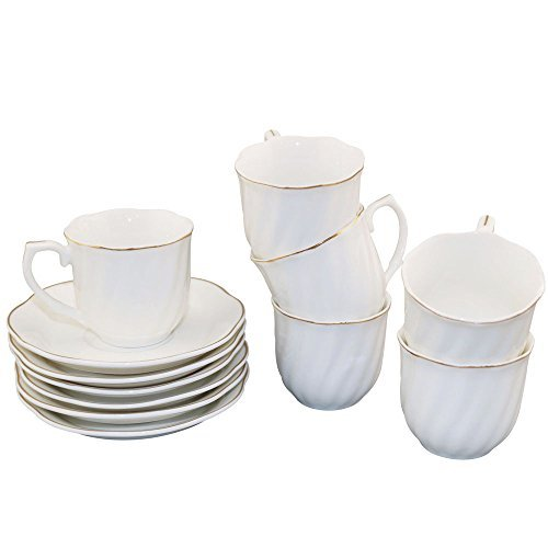 Espresso Cup and Saucer Set 2.8 OZ Golden Edge Porcelain New Bone China Set of 6 White Tea Cup Set - Edge Tea Saucer