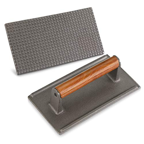 New Star Foodservice 36435 Commercial Grade Iron Steak Weight/Bacon Press, 8.25 by 4.25-Inch