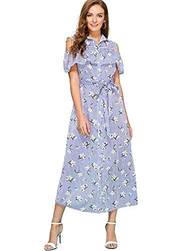 triped Print Flower Colid Shoulder Ruffle Trim Sleeves Shirt Dress Blue L ()