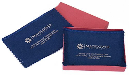 Mayflower Polishing Cloth Set of Two 8'''x 6'' Cleaning Cloths and Gift Box- Non Toxic Jewelry Cleaner Made in USA -100% Cotton for Silver, Gold, and Platinum -Shine Jewelry Like New by Mayflower Products