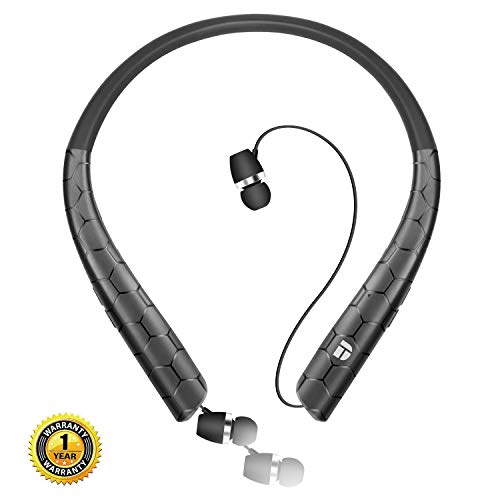 Bluetooth Headphones,DolTech Wireless Neckband Headset with Retractable Earbuds, HD Stereo Noise Cancelling Earphones with Mic (Call Vibrate Alert,18 Hrs Playtime)(Matte ()