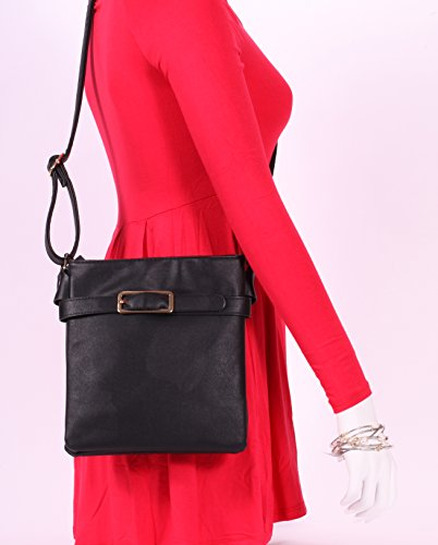Leather Collection Fashion Buckled Cross Chic Body MoDA Faux Purse Black cnWvFxH