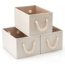 Pack of 3 EZOWare Bamboo Large Fabric Storage Bins Organizer with Cotton Rope Handle, Collapsible Cube Basket Container Box - Beige