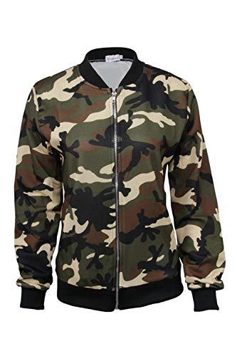 Corto Mode Marca Bomber Autunno Sciolto Eleganti Donna Grüne Lunghe Fashion Military Camuffare Outwear Giacca Casuale Bolawoo Primaverile Di Giacche Maniche Outdoor tPUzq8SSwx